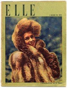 decembre 1945, ELLE fête la mode et la libération avec Elina Labourdette en couverture